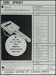 GMC Sprint Parts Book 1971 1972 1973 1974 1975 1976 Illsutrated Master Catalog