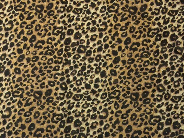 BALLARD DESIGNS LEO BROWN LEOPARD ANIMAL PRINT 100% LINEN FABRIC BY YARD 54\