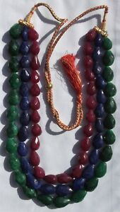 Necklace-Emerald-Ruby-Sapphire-20-034-3-Strand-17-23mm-Faceted-Pear-Bead-E307