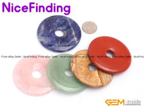 50mm Round Donut Rings Gemstone Necklace Pendant For Jewelry Making Beads 1 PCS