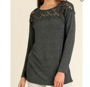 NWT-UMGEE-Charcoal-Gray-Casual-Lace-Tunic-Size-Medium