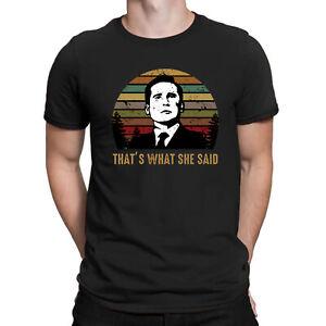 Bureau-de-Michael-Scott-qu-039-est-ce-qu-039-elle-dit-Retro-T-shirt-Noir-Hommes-Coton-Tee