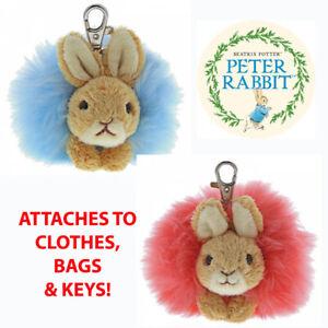 Peter Rabbit Flopsy Beatrix Potter Bag Clip Pom Plush Soft Toy by GUND - New