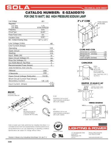 SOLA BALLAST E-SZA0DD70 70W 480V HPS