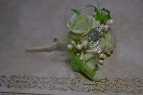 crystal Wedding  /& Prom wrist flowers corsage buttonhole green roses