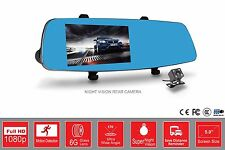 "Dash Cam Rear View Mirror Front & Rear Reverse Camera 5"" Display 170° Wide Angle"