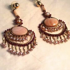 Miguel Ases gold beaded chandelier earrings, garnet, pearls, moonstone