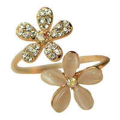 New Fashion Jewelry Gold Daisy Flower Crystal Rhinestone Women Ring Adjustable