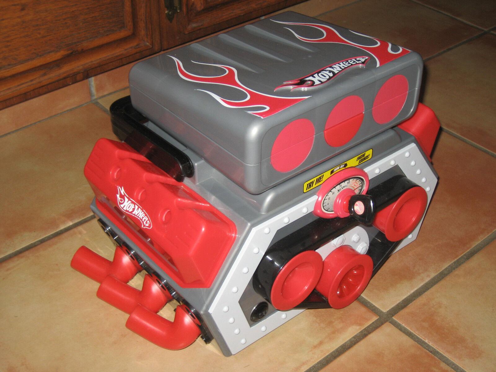 Hot Wheels RARE Race caso de motor, con sonidos de arrastre, 2009-Motor de Arrastre realista