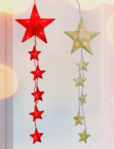 XL Fensterdeko Weihnachtsstern Sisalstern Lichterkette Weihnachtsbeleuchtung ROT