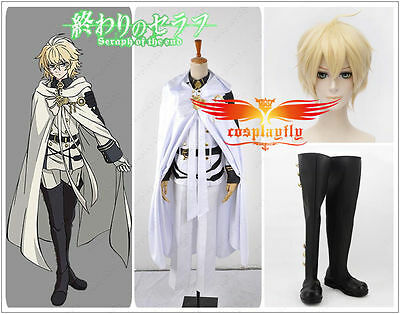 Seraph of the End Mikaela Hyakuya Cosplay Costume Cloth Shoes Boots Wig Full set