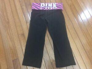 b9283df0ba56bd Women's Victoria Secret Pink Yoga Black Pink Rhinestone Capri Pants ...