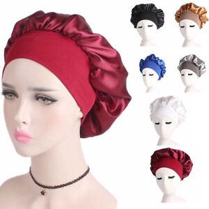 71107e7bd Details about Women's Night Cap Wide Band Hair Loss Chemo Satin Bonnet  Ladies Turban Caps