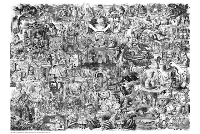 ALICE IN WONDERLAND ~ JOHN TENNIEL B/W COLLAGE ~ 24x36 FINE ART POSTER ~ NEW!