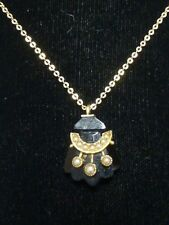 Beautiful Victorian 14K Yellow Gold Pendant With Jet & Seed Pearls