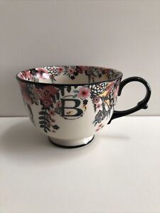 Anthropologie Large Tea/Coffee Time Letter B MONOGRAM Cup Mug Floral Stoneware