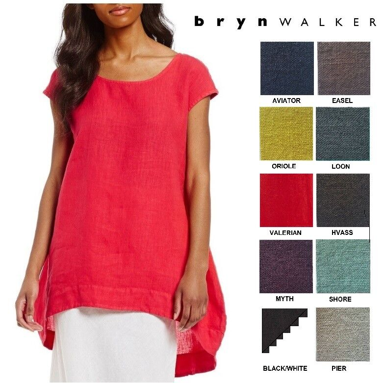 BRYN WALKER USA Heavy Linen  AMY TUNIC  Long Balloon Top XS S M L X  SPRING 2018