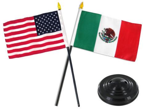 Mexico Mexican w/ USA American Flag 4x6 Desk Set Table Stick Black Base