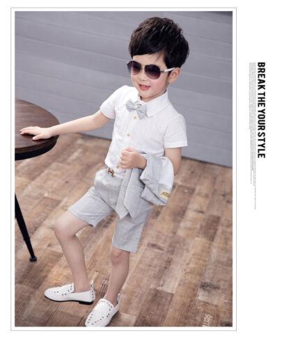 4PC Formal Toddler Children Boy Kid Vest+Shirt+Shorts Suit Wedding Party Outfits