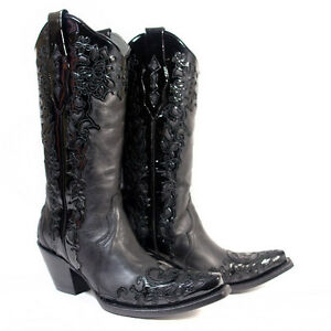 84bf4e2e541 Details about CORRAL Women's Black Patent Leather Scroll Snip Toe Western  Boots A2832 NIB Size