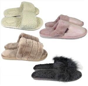 Signore-Donne-Piatto-pelliccia-soffice-CURSORI-Pantofole-Invernali-Ciabatte-Infradito-Scarpe-UK