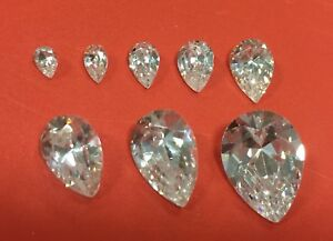 Cubic-Zirconia-Loose-Stone-PEAR-TEARDROP-shape-crystal-gem-clear-PREMIUM-4-14mm