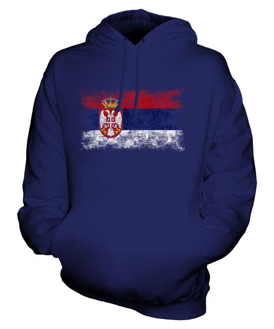 SERBIA DISTRESSED FLAG UNISEX HOODIE TOP SRBIJA SERBIAN  FOOTBALL