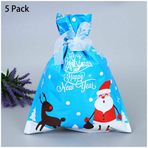 30pcs Cellophane Large Ribbons Christmas Gift Bags Party Candy Cookie Bag UK