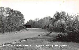 Nashville-Indiana-Double-Covered-Bridge-in-Brown-County-State-Park-RPPC-c1950