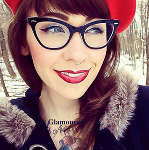 3d151792d26 SEXY PinUP Cat Eye BLACK Vintage Style Clear DEMI Women Eyeglasses ...