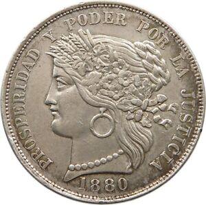 PERU 5 PESETAS 1880 TOP #t89 331