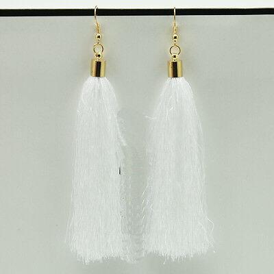 Femmes Mode Vintage Bohémien Longue Tassel Frange Boho Crochet Boucle d'oreille
