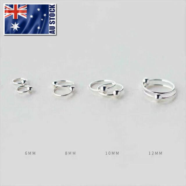 925 Sterling Silver Hoop Ring Bead Sleeper Earrings Lip Ear Nose Body Piercing