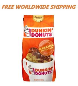 Dunkin Donuts Flavored Caramel Coffee Cake Ground Coffee 11 Oz Free