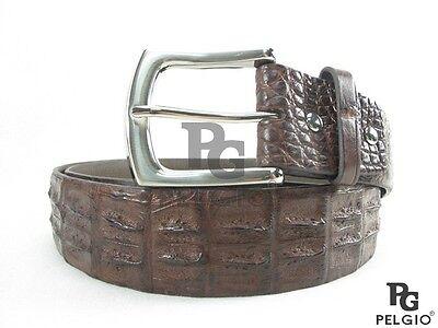 "PELGIO Genuine Crocodile Alligator Double Hornback Skin Leather Belt 46"" Brown"