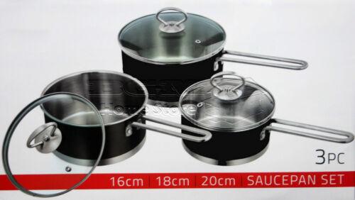 3pc Saucepan Set Stainless Steel Cookware Pot With Glass Lids Sauce Pan Black
