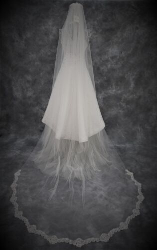 Wedding Veil *Cathedral Length*1 Tier*Wide Corded Lace*Bespoke*Ivory//Off white*