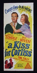 KISS-FOR-CORLISS-1949-Orig-Australian-daybill-movie-poster-Shirley-Temple-Niven