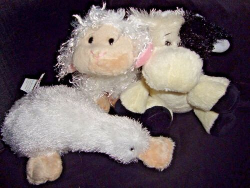 Webkinz PLUSH ONLY LOT of 3 LIL KINZ :  LAMB + COW + GOOGLES - JUST PLUSH !!!!!!