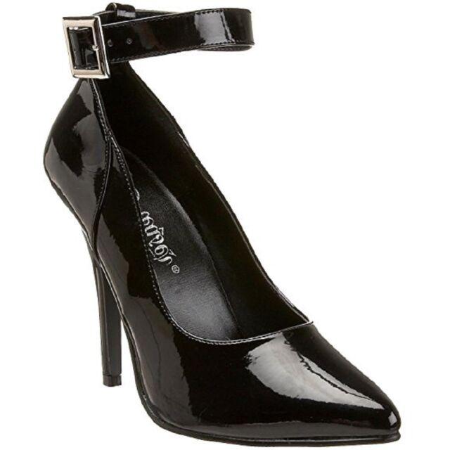 "Black Patent Pleaser Seduce-431 5/"" High Heel Ankle Strap Pump"