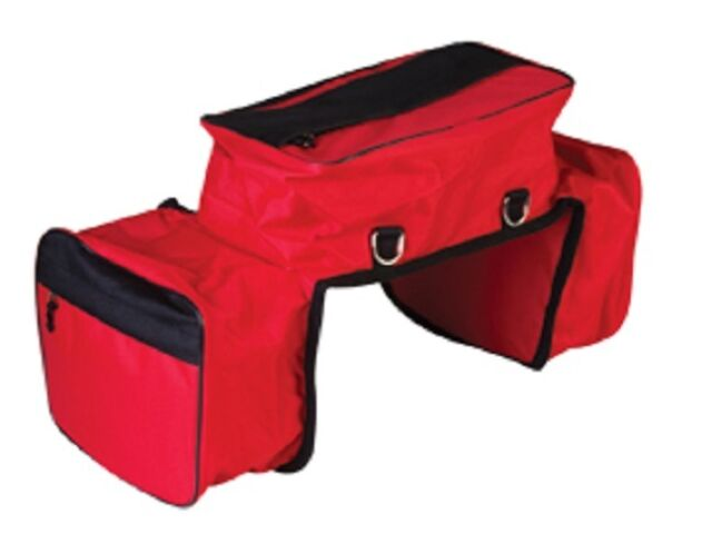 Insulated Cordura Nylon Western Horse Saddle Bag with Cantle Bag - RED