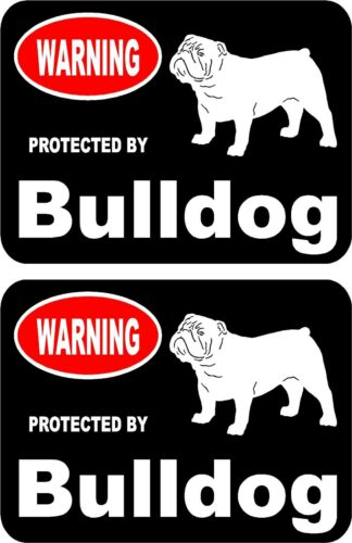 2 protected by Bulldog dog car home window vinyl decals stickers #A