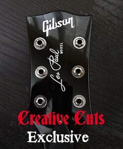 Gibson-Les-Paul-Standard-Model-Headstock-Vinyl-Decal-Inlay-set-Metallic-Silver