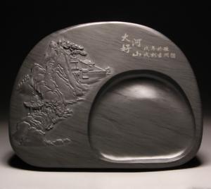 China rebelados Tinta Original Pedra Talhada À Mão Montanhas Rios inkstone inkslab端墨
