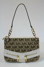 NWT Michael Kors Jamesport Chain Shoulder Bag Jacquard Leather Vanilla Beige