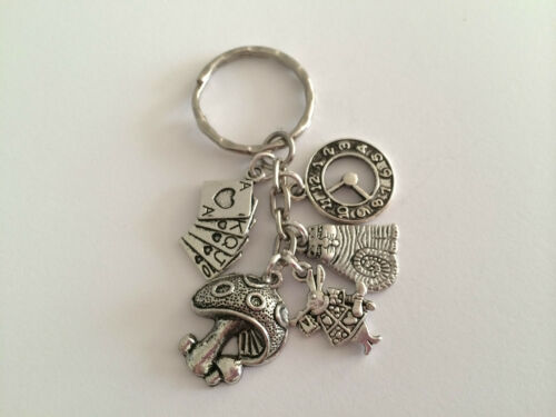 ALICE IN WONDERLAND Vintage Silver Tone Color Key ring mythical gift present