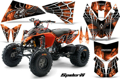 CREATORX GRAPHICS KIT FOR KTM ATV 450//525 SX XC QUAD SPIDERX WHITE ORANGE
