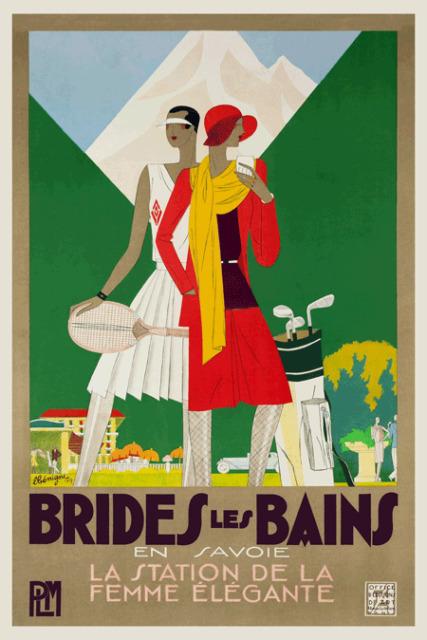 Art Deco French Colour Travel Poster Brides Les Bains 1930s Vintage Tennis Golf