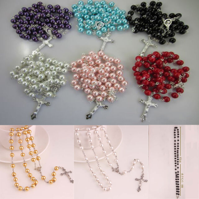 Glass Pearl Catholic Holy Rosary Beads Christian Gifts The Cross Necklace