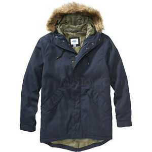 41a2b606e47 NWT Old Navy Men s Long Hooded Canvas Coat removable faux-fur trim ...